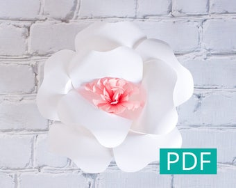 Paper Flower Template PDF, DIY Flower, DIY Decor, Large Paper Flower Backdrop, Nursery Decor, Wedding Decor, Party Decor