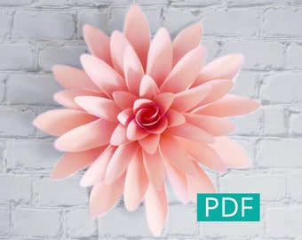 Paper Flower Template PDF, DIY Flower, DIY Decor, Large Paper Flower Backdrop, Paper Dahlia, Nursery Decor, Wedding Decor, Party Decor