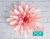 Paper Flower Template SVG PDF, Cricut, diy Flower, diy Decor, Large Paper Flower Backdrop, Paper Dahlia, Nursery Decor, Wedding Decor