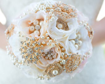 Custom Blush Artificial Flower Bouquet - Rose Gold Brooch Bouquet - Pink Silk Flower Bouquet - Pearl Bridal Bouquet - 9 inch Bouquet