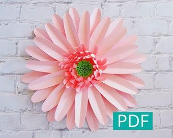 Paper Flower Template PDF, Gerbera Daisy, DIY Flower, DIY Decor, Large Paper Flower Backdrop, Nursery Decor, Wedding Decor, Party Decor