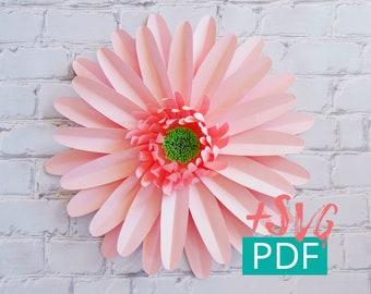 Paper Flower Template SVG PDF, Cricut, diy Flower, diy Decor, Large Paper Flower Backdrop, Paper Daisy Gerbera, Nursery Decor, Wedding Decor