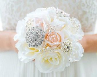 Custom Blush and Ivory Silk Flower Rose Bouquet, Bridesmaids Brooch Bouquet, Bridal Bouquet, Jewelled Bouquet Alternative - 6 inch Bouquet