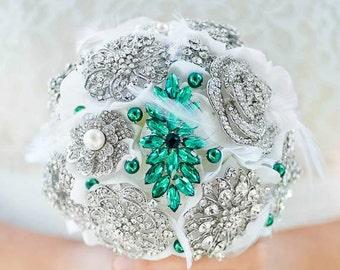 Custom Emerald Brooch Bouquet - Green Bridesmaids bouquet, Silk Flower Bouquet, Wedding Bouquet, Jewelled Bouquet, Bridal Bouquet - 6 inch