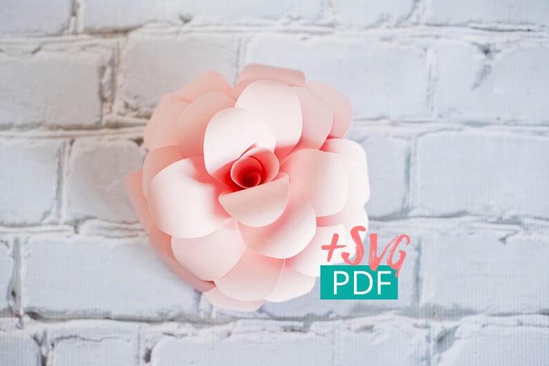 Paper Flower Template SVG PDF Cricut diy Flower diy Decor image 0