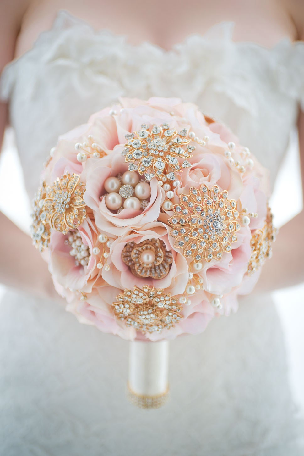 Custom blush fabric flower bouquet rose gold brooch bouquet etsy zoom izmirmasajfo