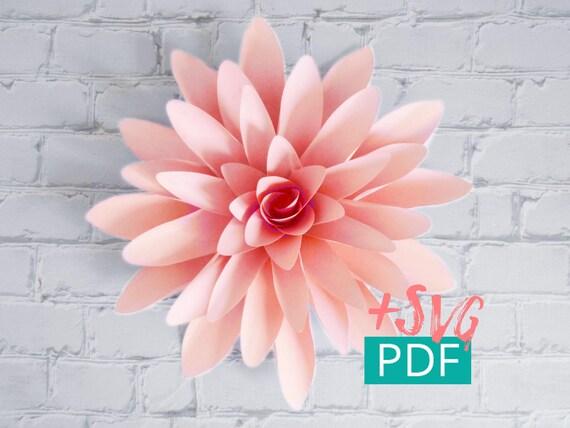 Paper Flower Template SVG PDF Cricut Diy Decor