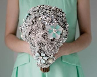 Custom Silver Brooch Bouquet, Bridal Bouquet, Wedding Bouquet, Cascading Bouquet, Teardrop Bouquet, Seafoam Brooch, 8inch Bouquet