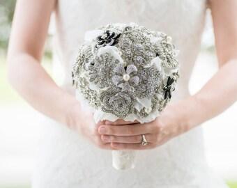 Custom Brooch Bouquet - Bridal Bouquet, Wedding Bouquet, Jeweled Bouquet, Silk Flower Bouquet, Fabric Bouquet - 7 inch Bouquet