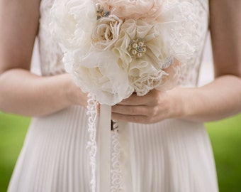 Custom Champagne Fabric Bouquet - Fabric Flower Bouquet, Brooch Bouquet, Bridal Bouquet, Wedding Bouquet, Purple - 7 inch Bouquet