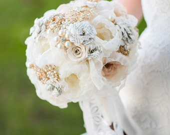 Custom Ivory Champagne Fabric Flower Brooch Bouquet, Paper Flower Bouquet, Fabric Bouquet, Bridal Bouquet, Vintage Wedding - 9 inch Bouquet
