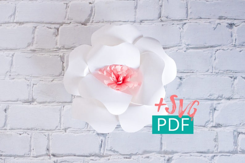 Paper Flower Template SVG PDF Cricut Silhouette DIY Flower image 0