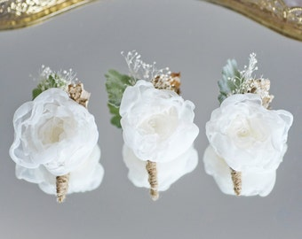 Custom Rustic Burlap Fabric Flower Boutonniere, Groom Groomsmen Boutonniere, Buttonhole, Men Brooch
