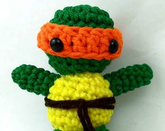 Crochet Ninja Turtle Michelangelo Amigurumi Orange Plush