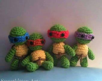 Full Set Crochet Ninja Turtle  Amigurumi Plush