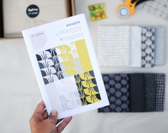 DIY Quilt Kit, Create Your Own Improv Quilt with Hand Printed Fabric, Gift for Quilter with Pattern and Screen Printed Fat Quarter Bundle