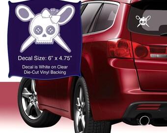 6 X 4.75 White on Clear Die Cut Vinyl Backing Car Bumper Gift # 110 Fiberflies GIfts SKULL AND SEWBONES Decal Vinyl Window Sticker