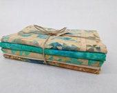 Batik Textiles - 4901, 4902B, 4903, 4904, 4905 - American Quilt Fabric Pack - 1 Yard Each Color Fabric - Turquoise Cream Blue Orange Block
