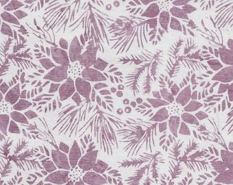 Island Batik - IB 122017400 - Opalescence Poinsettia - Plum Pudding - White Floral Flowers Holly Pine Leaves Light Purple Pink Fuchsia Berry