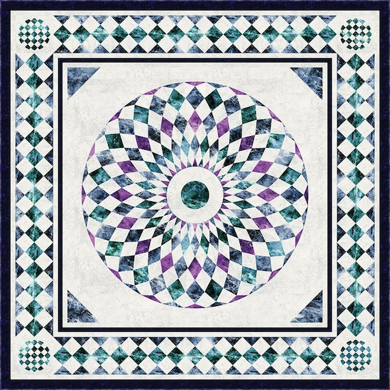 The Whimsical Workshop QUEEN/'S HOUSE Quilt Pattern Hoffman Marbled Fabrics Alice in Wonderland Advanced Round Circle Heidi Pridemore