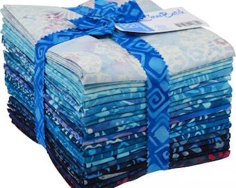 "BLUE - 20 Fat Quarters - 18"" x 20"" - Maywood Studio Java Batik Fabric -fq-masjab-blu - Light Medium Dark Gradient Cobalt Royal Azure Navy"