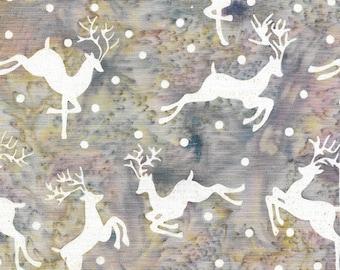 Island Batik - IB 122011905 - Aurora Flying Deer - Plum Pudding - White Falling Snow Flakes Light Hint of Purple Gray Beige Frosted Reindeer