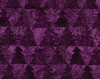 Island Batik - IB 122016490 - Vino Triangle Tree - Plum Pudding - Dark Purple Pink Fuchsia Berry Mauve Red Forest Pine Tonal Christmas Wine
