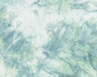 Hoffman California - 1384-174 Seamist - Bali Hand Dyed Mottle - Smoothie Watercolor Batik Blender Fabric - Soft Green Gray White Sea Mist
