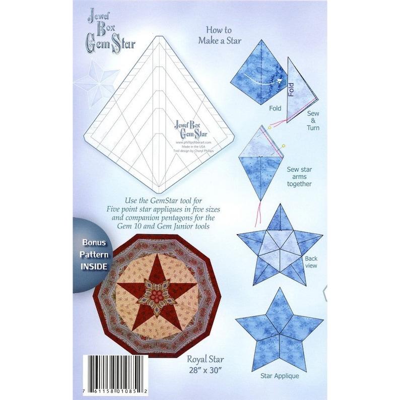 Phillips Fiber Art JEWEL BOX GEM Star Ruler Bonus Pattern Table Topper Tree Skirt Circles Cheryl Phillips Companion Template Tool