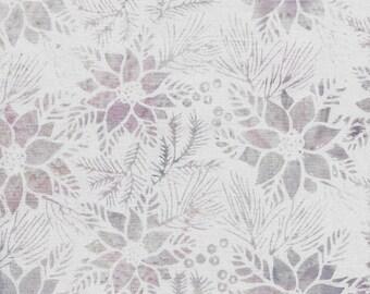Island Batik - IB 122017410 - Lilac Poinsettia - Plum Pudding - White Floral Flowers Holly Pine Leaves Light Tonal Hint of Purple Gray Beige