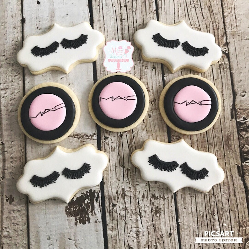 Makeup and Lashes Sugar Cookies