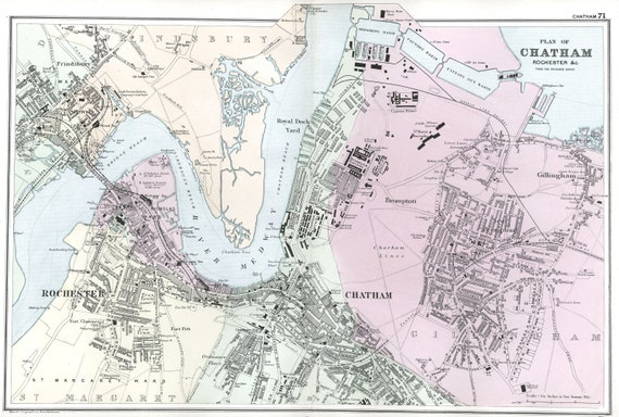 Chatham England Map.Antique Vintage Map Street Plan Of Chatham And Rochester Etsy