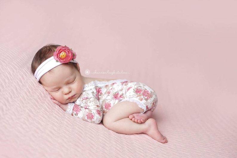 Newborn Lace Romper Floral Lace Romper Photography Prop image 0