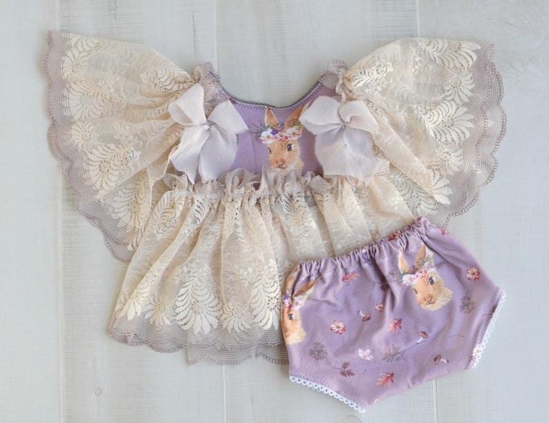 Floral Bunny Ruffled Lace Sitter Outfit Dusty Purple Lavender image 0