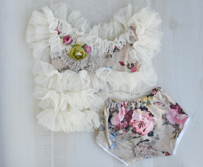 Ivory Tutu Tunic and Bloomers Sitter Outfit Vintage Floral image 0