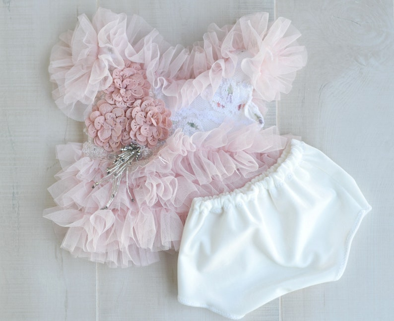 Pink Tutu Tunic and Bloomers Sitter Outfit Cake Smash Outfit image 0