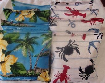ACA REGULATION CornHole Bag Set of 8 HAWAIIAN HIBISCUS YELLOW /& BLUE CRABS