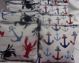 4 Lobsters on Newspapers and 4 Red and White Stripe 8 ACA Regulation Cornhole Bags