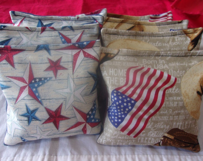 USA Flags Cowboy Boots Hat with Red White And Blue Texas Stars 8 ACA Regulation Cornhole Bags