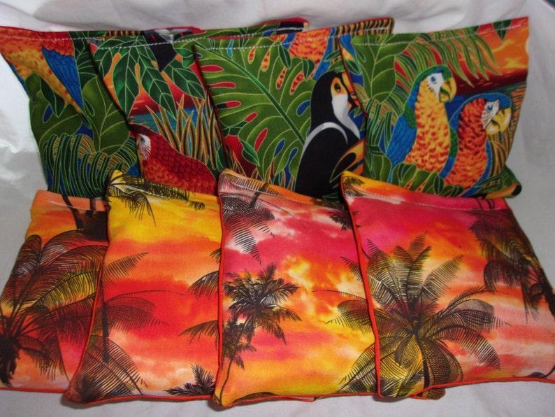 Tropical Birds Toucans and Parrots /& Beach Palm Trees 8 ACA Regulation Cornhole Bags