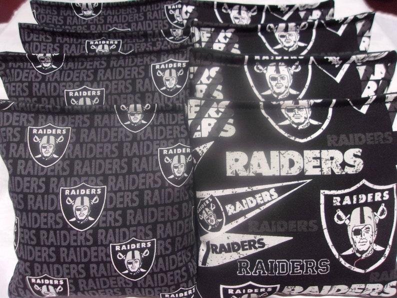 8 handmade from Oakland Raiders Fabric 8 ACA Regulation Cornhole Bags