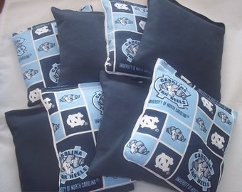 8 ACA Regulation Cornhole Bags - 4 handmade from University of North Carolina Tarheels Block Fabric & 4 Solid Dark Blue Bags