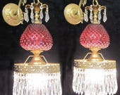 Reserved 4 Vintage Sconces Fenton Cranberry art Glass Bronze Brass Lamp crystal French Crystal Prisms