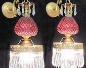 Pair Vintage Sconces Fenton Cranberry art Glass Bronze Brass Lamp Crystal Prisms