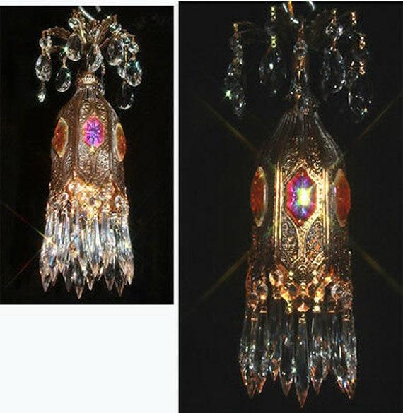 PAIR of crystal SWAG Cherub hanging Lamp Chandelier brass plated Vintage spelter
