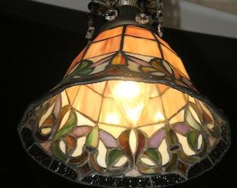 "Vintage Lamp Slag Glass Brass Tole Spelter Chandelier Beads Prisms 15"" Cord Fixt"