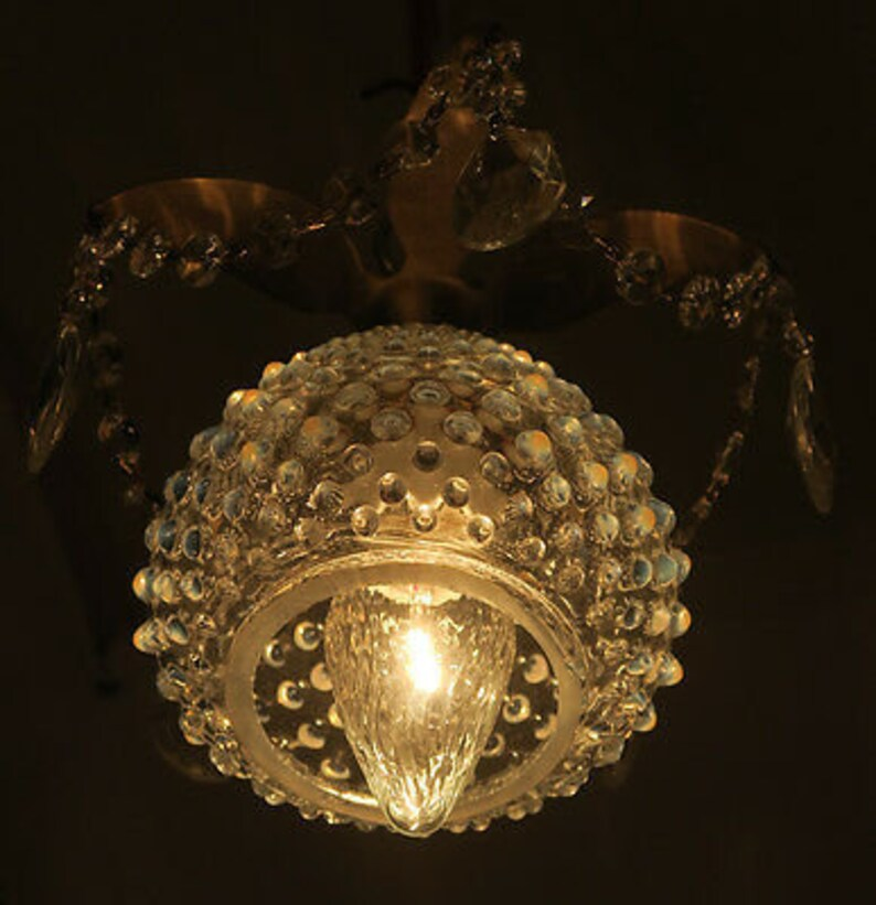 1of5 Beaded Vintage Brass /& tole Ceiling canopy lamp chandelier part French insp
