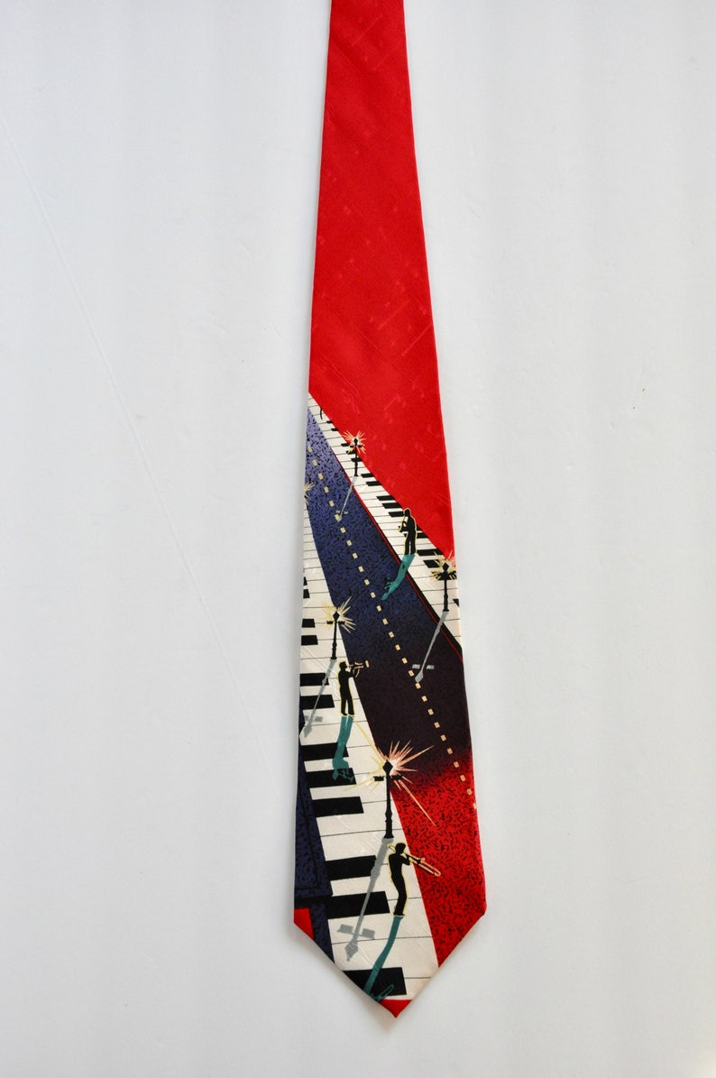 Musicians Playing on a Piano Street Father/'s Day I Am Gift for Him Boss Blues Music Tie 80s Jazz Silk Tie by Je Suis Musician Tie