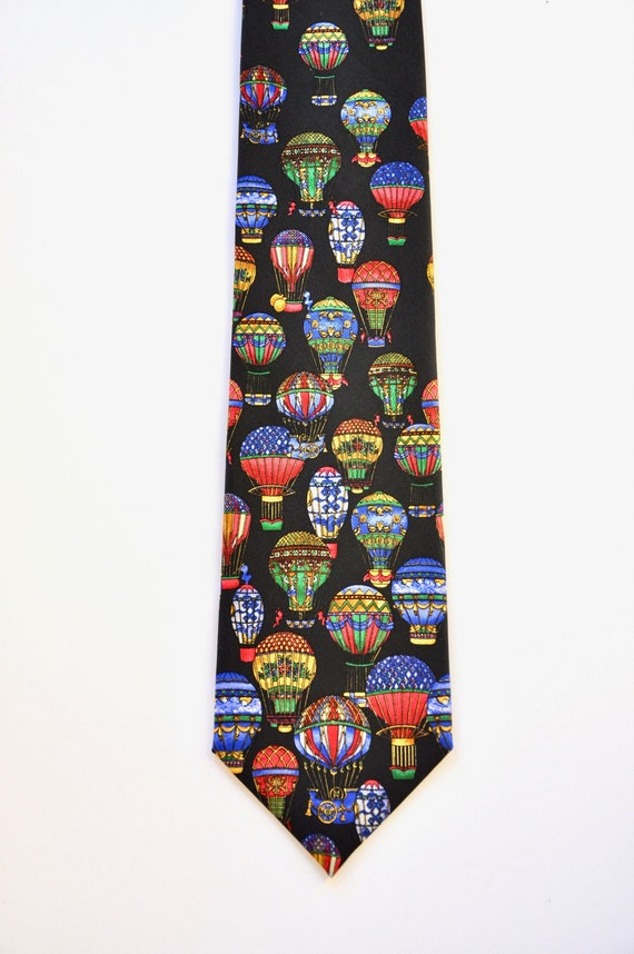Colorful Air Balloons Novelty Silk Tie, Designer M