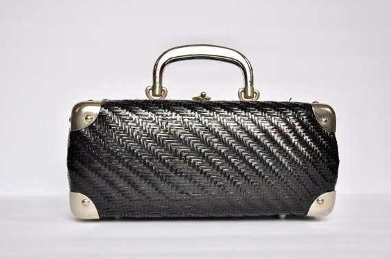 1960s Black Straw Luggage Box Purse, Made in Italy